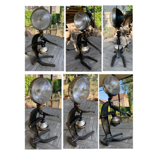 CREALAMPES - Lampe UPCYCLING phare de traction avant - Lampe d'ambiance