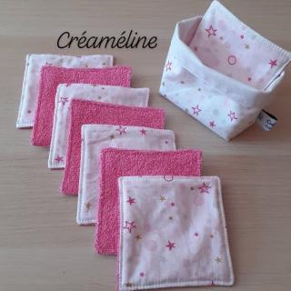 Créaméline - Panier + 8 grandes lingettes en éponge - Lingette lavable