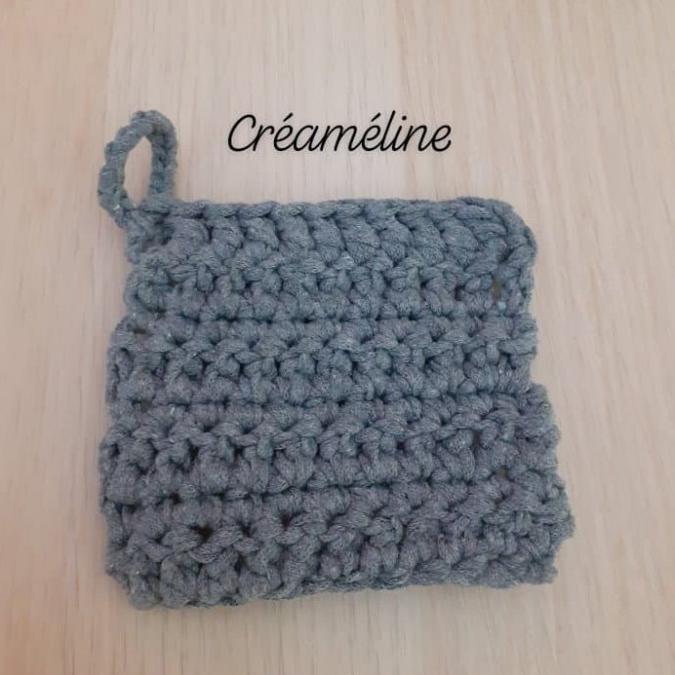 Créaméline - Tawashi gris - carré - Tawashi