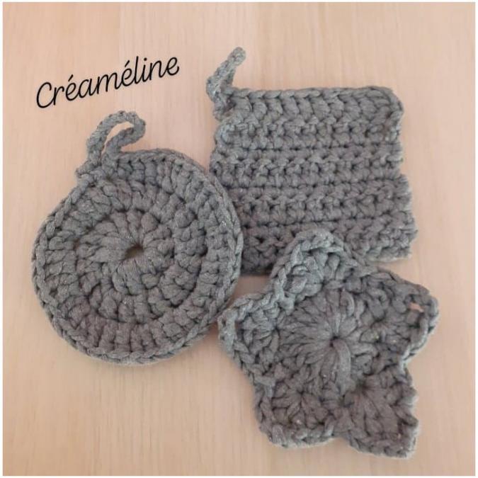 Créaméline - Tawashi gris - rond - Tawashi