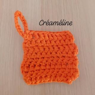 Créaméline - Tawashi orange - carré - Tawashi
