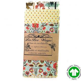 Création zéro-déchet - Pack  de 5 Bee-Wraps à la cire d'abeille - Emballage réutilisable