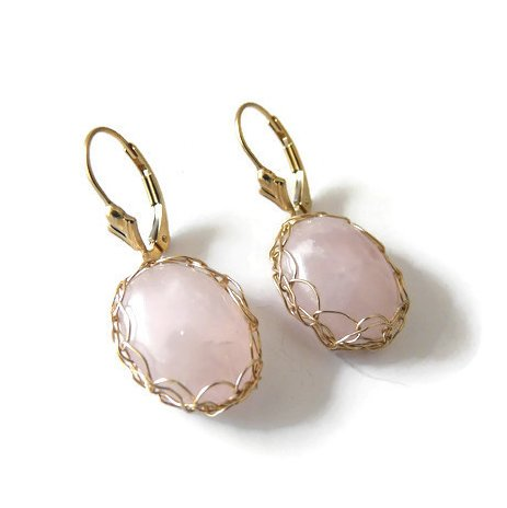 Dekalyna - Quartz rose boucles d'oreilles en plaqué or et dormeuses - Boucles d'oreille - quartz