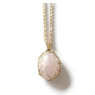 Dekalyna - Quartz rose pendentif plaqué or - Pendentif