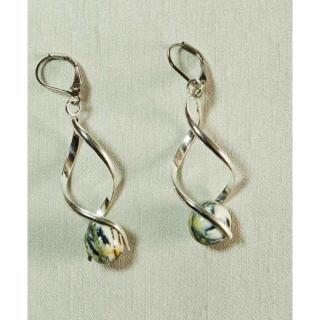 Délicatesse de perle - BOUCLES D'OREILLES « TORSADES LONGUES » PERLES BEIGES - Boucles d'oreille - Acier
