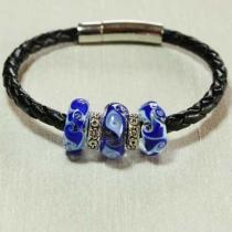 Délicatesse de perle - BRACELET CUIR PERLES BLEUES - Bracelet - Cuir