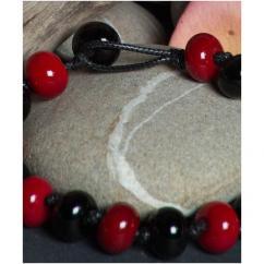 Délicatesse de perle - BRACELET PERLES NOIRES ET ROUGES - Bracelet - Coton