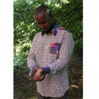 didi bhati - CHEMISE HOMME, taille S/M, modèle PAOLO, pur Coton pièce unique - Chemise (homme)
