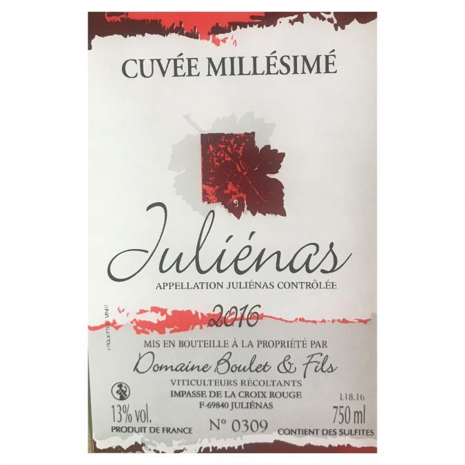 Domaine Boulet - Juliénas Millésimé - 2016 - Bouteille - 0.75L