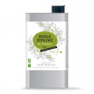 DOMAINE LES PATYS - Huile d'olive Fruité Vert BIO AOC PROVENCE 1 L - Huile d'olive