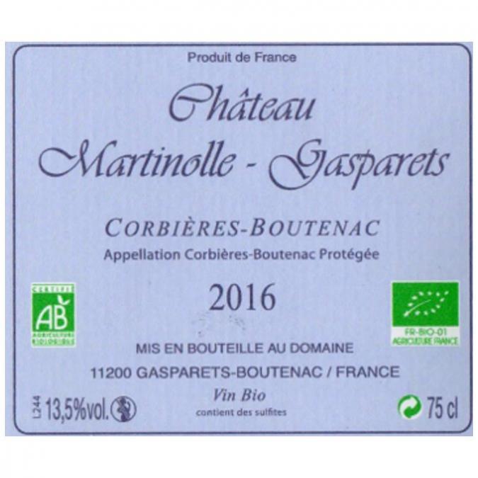 DOMAINE MARTINOLLE-GASPARETS - Château MARTINOLLE-GASPARETS 2016 BIO Artisanal Médaille d'OR AMPHORE - 2016 - Bouteille - 0.75L
