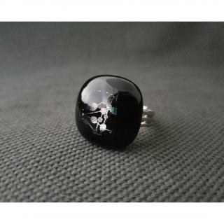 Emilie Roze - Bague noire motif argenté - Bague - Verre
