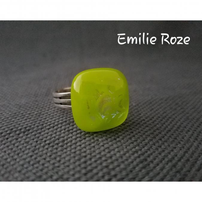 Emilie Roze - Bague vert anis - Bague - Verre