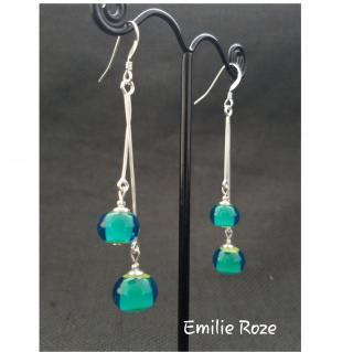 Emilie Roze - Boucles d'oreille chainette vertes - Boucles d'oreille - Verre