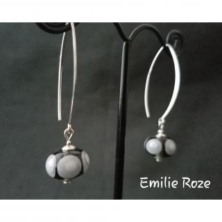 Emilie Roze - Boucles d'oreille crochet grises - Boucles d'oreille - Verre