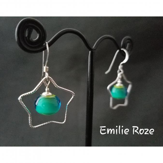 Emilie Roze - Boucles d'oreille étoile vert turquoise - Boucles d'oreille - Verre