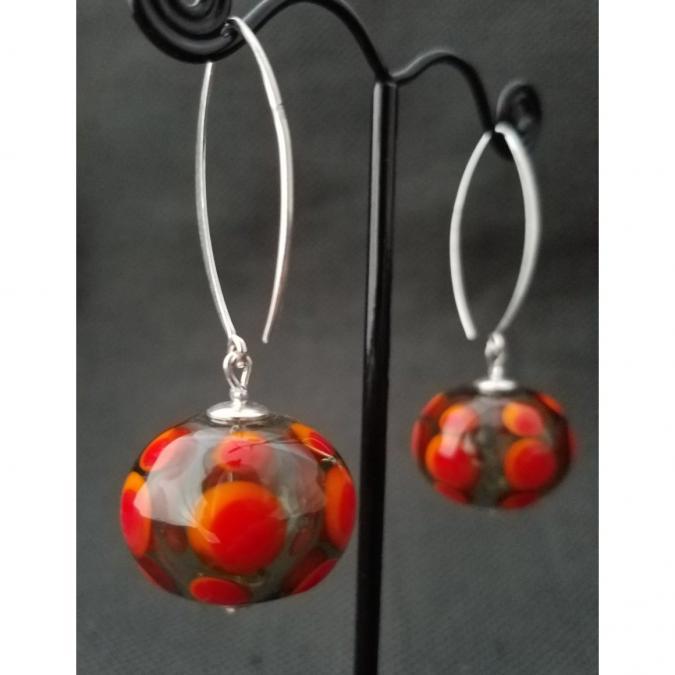 Emilie Roze - Boucles d'oreille perles soufflées rouge orange - Boucles d'oreille - Verre