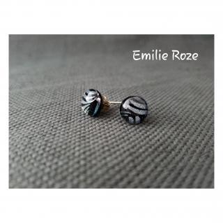 Emilie Roze - Boucles d'oreille puce noires - Boucles d'oreille - Verre