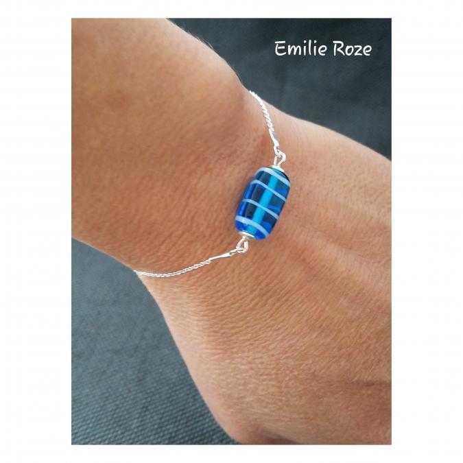 Emilie Roze - Bracelet chainette perle bleue - Bracelet - Verre