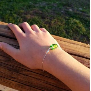 Emilie Roze - Bracelet chainette perle verte - Bracelet - Verre