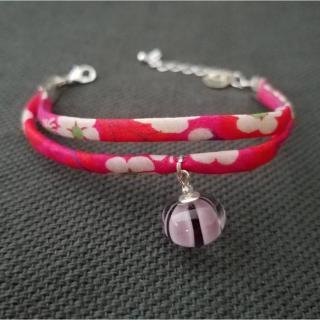 Emilie Roze - Bracelet liberty moyen rose avec une perle prune - taille Moyen - Bracelet - Verre