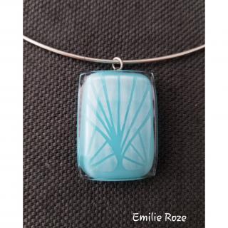Emilie Roze - Collier arbre bleu clair - Collier - Verre