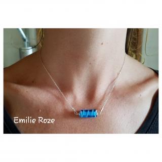 Emilie Roze - Collier chainette perle bleu - Collier - Verre