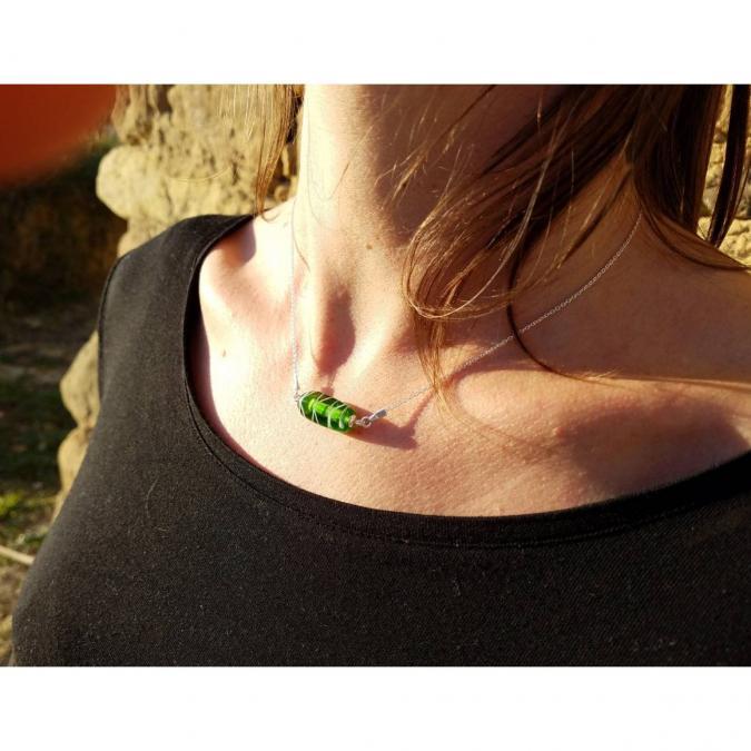 Emilie Roze - Collier chainette perle verte - Collier - Verre
