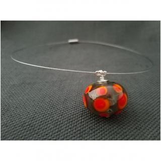 Emilie Roze - Collier perle soufflée grise à pois rouge orange - Collier - Verre