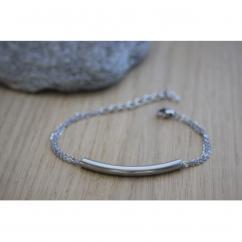 EmmaFashionStyle - Bracelet 3 chaines et perle tube en acier inoxydable - Bracelet - Acier
