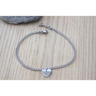 EmmaFashionStyle - Bracelet de cheville breloque coeur en acier - Chaine de cheville