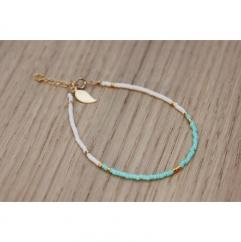 EmmaFashionStyle - Bracelet Gold FIlled et miyuki aqua et blanc - Bracelet - Or (gold filled)