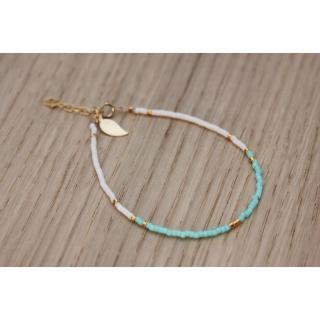 EmmaFashionStyle - Bracelet Gold FIlled et miyuki aqua et blanc - Bracelet - Or (gold filled)