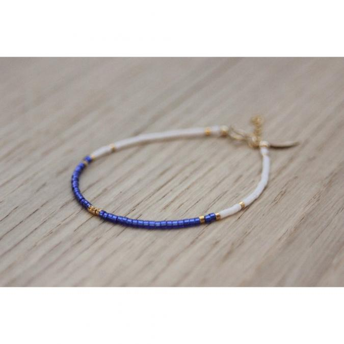 EmmaFashionStyle - Bracelet Gold FIlled et miyuki bleu et blanc - Bracelet - Plaqué Or gold filled