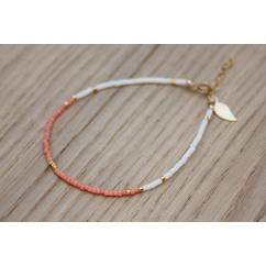 EmmaFashionStyle - Bracelet Gold FIlled et miyuki corail et blanc - Bracelet - Or (gold filled)