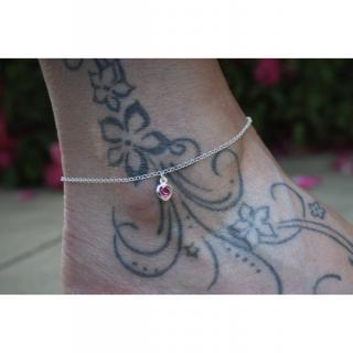 EmmaFashionStyle - Chaine de cheville en argent massif breloque coeur en cristal rose - Chaine de cheville