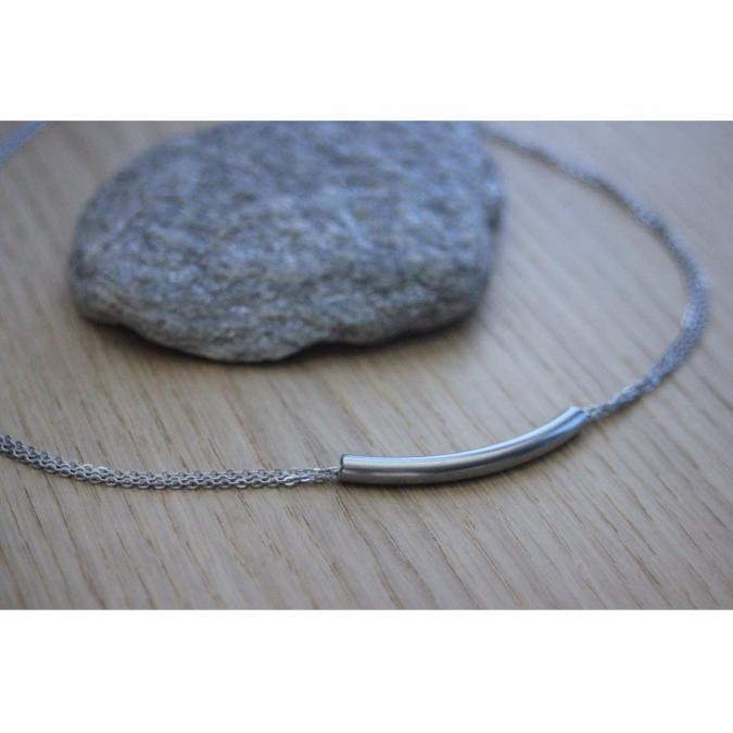 EmmaFashionStyle - Collier 3 chaines et perle tube en acier inoxydable - Collier - Acier
