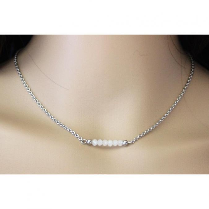 EmmaFashionStyle - Collier acier et perles facettées blanc opale - Collier - Acier