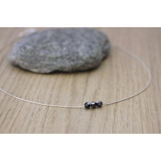 EmmaFashionStyle - Collier argent 3 perles noires cristal swarovski - Collier - argent