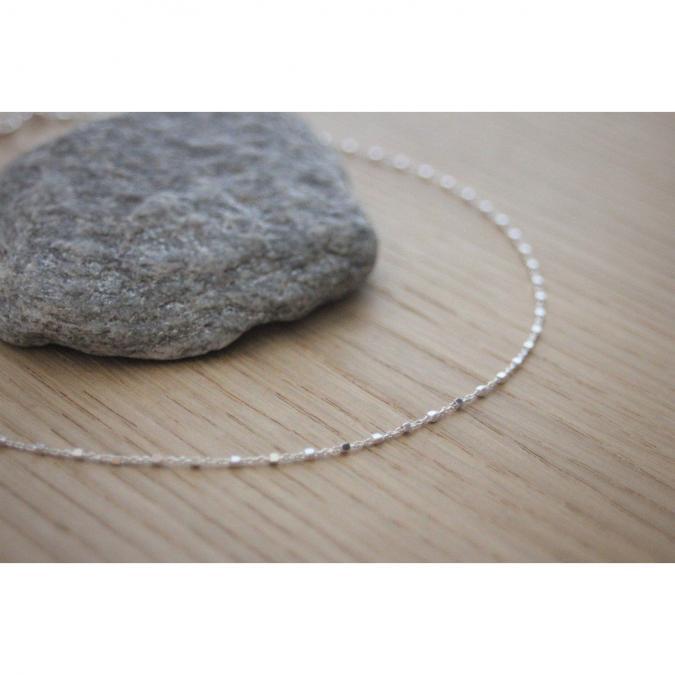 EmmaFashionStyle - Collier argent chaine avec petites perles carrées - Collier - argent