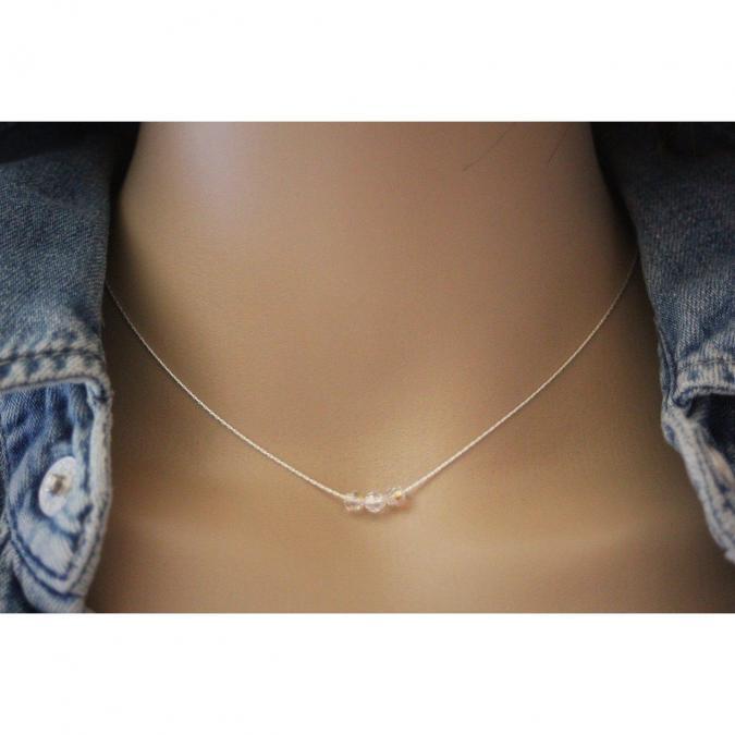 EmmaFashionStyle - Collier argent massif 3 perles en cristal Swarovski - Collier - argent