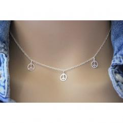 EmmaFashionStyle - Collier argent massif 3 petites médailles peace and love - Collier - argent
