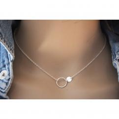 EmmaFashionStyle - Collier argent massif 925 anneau et médaille - Collier - argent