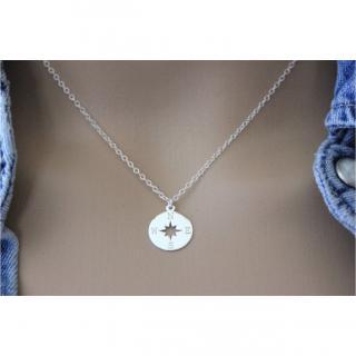 EmmaFashionStyle - Collier argent massif 925 pendentif boussole - rose des vents - Collier - argent