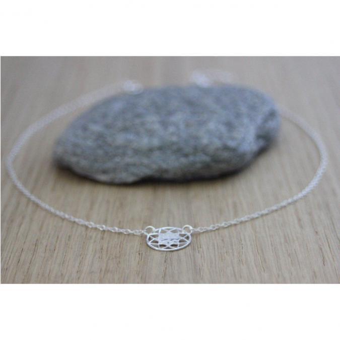 EmmaFashionStyle - Collier argent massif 925 pendentif mandala arbre de vie - Collier - argent