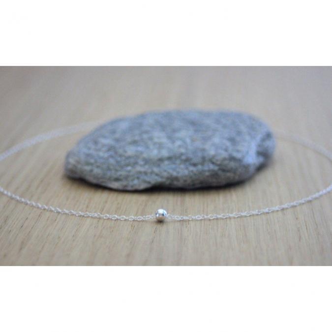 EmmaFashionStyle - Collier argent massif avec 1 perle boule lisse - Collier - argent