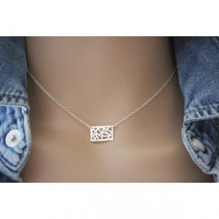 EmmaFashionStyle - Collier argent massif breloque rectangle ajouré - Collier - argent