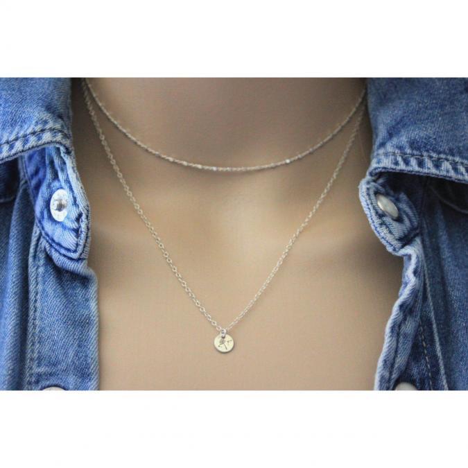 EmmaFashionStyle - Collier argent massif double chaine et médaille gravée pissenlit - Collier - argent