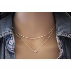 EmmaFashionStyle - Collier argent massif double chaine et perle coeur - Collier - argent