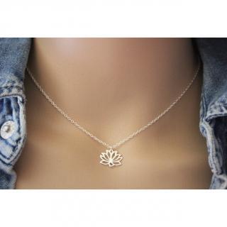 EmmaFashionStyle - Collier argent massif fleur de lotus - Collier - argent